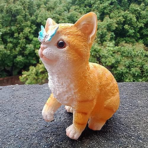 Estatua de jardín Figurita de resina Adornos de jardín Adorno de jardín, Bonita estatuilla de jardín de gato, Estatua de jardín de resina impermeable para jardín de césped Decoración de jardín