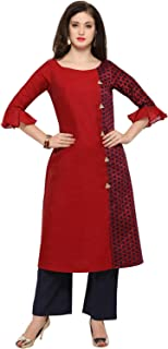 Inddus Red chanderi cotton kurta With Palazzo/Women Festive wear