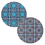 BOHORIA® Premium Design Keramik Topfuntersetzer 2er Set – Dekorative Untersetzer für Vasen, Töpfe, Karaffen und Flaschen auf ihrem Esstisch aus Holz, Glas oder Stein (rund | 18cm) (Moroccan Mosaic)