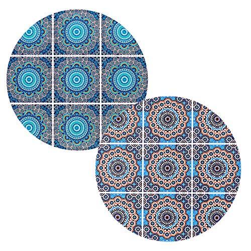 BOHORIA® Premium Design Keramik Topfuntersetzer 2er Set – Dekorative Untersetzer für Vasen, Töpfe, Karaffen und Flaschen auf ihrem Esstisch aus Holz, Glas oder Stein (rund   18cm) (Moroccan Mosaic)