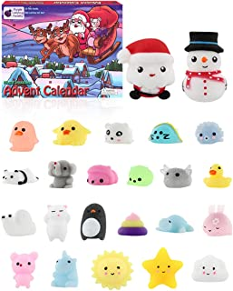 Purple Ladybug Novelty The Original Mochi Squishy Toys 2019 Advent Calendar for Kids, with 24 Different Kawaii Jelly Mochi Squishies Including Santa! Christmas Countdown Calendars for Girls and Boys!