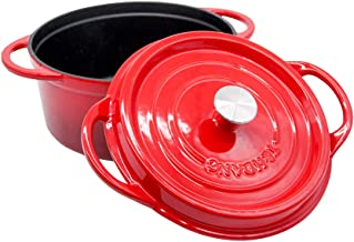 T&H Danc Enameled Cast Iron Dutch Oven with Lid Cookware French Oven Casserole 4.5-Quart-No mat Red