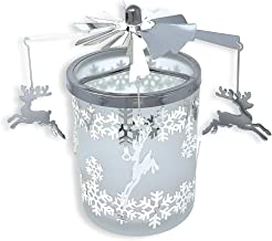 Frosted Glass Reindeer Spinning Candle Holder - Reindeer Charms with Snowflake Designs Spin Around When Candle is Burning