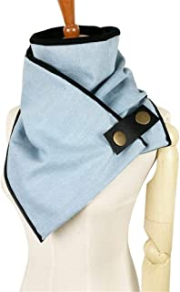 NJTSXLM Women Men Unisex Scarf 100% Cotton Denim Shawls Winter Ring Fashion Poncho Loop Button Scarves Tube Scarf Foulard Femme (Color : Light Blue)