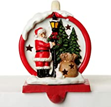 The Christmas Cart Personalised Gifts & Keepsakes Light Up Santa with Tree Stocking Hanger | Mantlepiece Stocking Holder |...