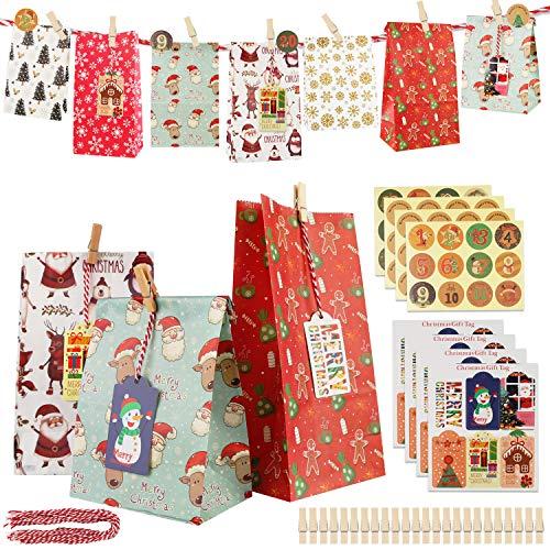 HOSPAOP Adventskalender zum Befüllen, 1-24 Adventskalender Selber Basteln,Adventskalender Tüten mit 24 Aufkleber, Geschenktüten Weihnachten, Adventskalender Basteln für Kinder Basteln DIY