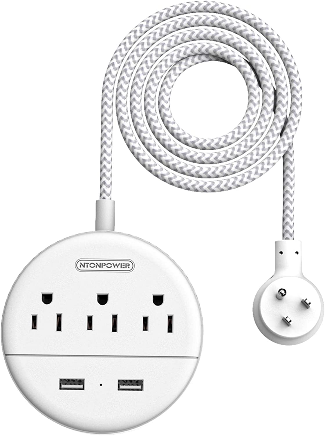 National products NTONPOWER Austin Mall Braided Power Strip Flat USB Nights Compact with Plug