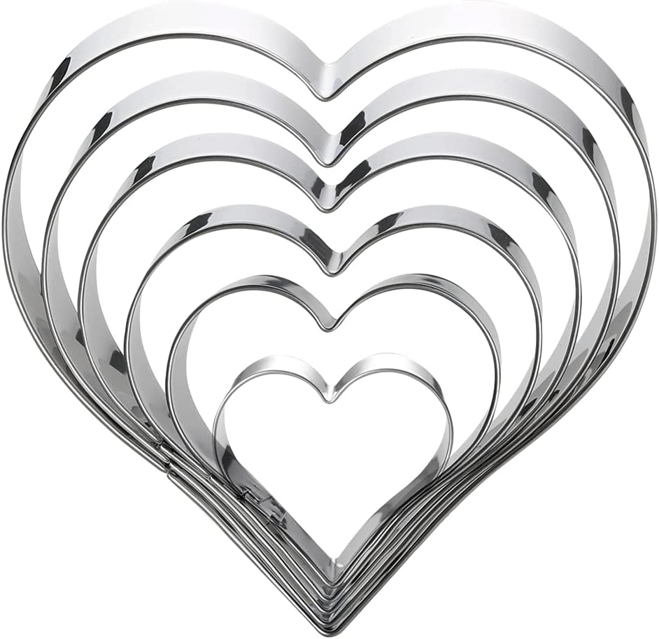 Heart Cookie Cutter Set-6 Pieces in Gratuated Size-Stainless Steel