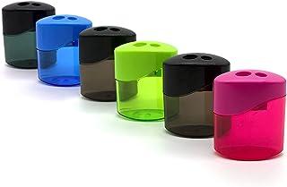 ظروف مربع Sharpener مربع Emraw Dual Blades برای گرفتن تراش برای مداد و مداد رنگی منظم و بیش از اندازه طراحی شده با پلاستیک های آبی ، سبز ، صورتی و مشکی - عالی برای مدرسه ، خانه و دفتر (6 بسته)