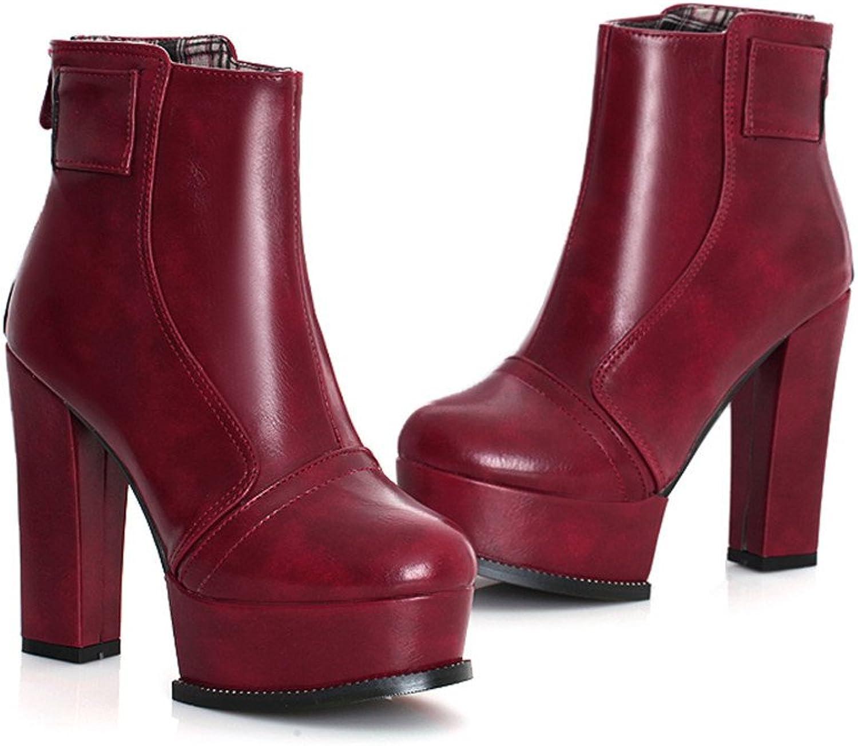 Fashion Heel Womens Platfrom Chunky High Heel Handmade Ankle Boot