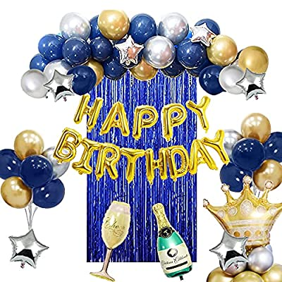 Birthday Decorations for Men, 45PCS Blue Happy ...