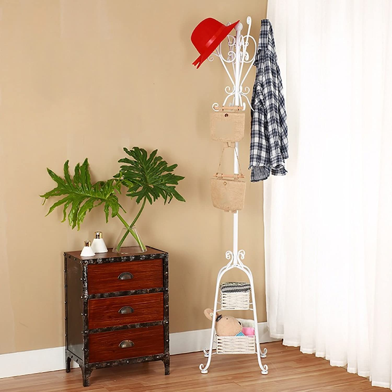 LJHA yimaojia European Creative Floorstanding Coat Rack Home Bedroom Hanger Iron Art Storage Rack (3 colors Available) Coat Hangers (color   White, Size   170cm)