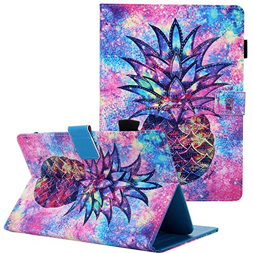 Universal 9-10 Inch Tablet Case, Coopts PU Leather Shockproof Kickstand Cover for iPad 9.7 2018 2017/iPad 2 3 4/Galaxy Tab A 10.1 T510/Tab A 10.5 T590/MediaPad T3/M3/Fire HD 10, Pineapple