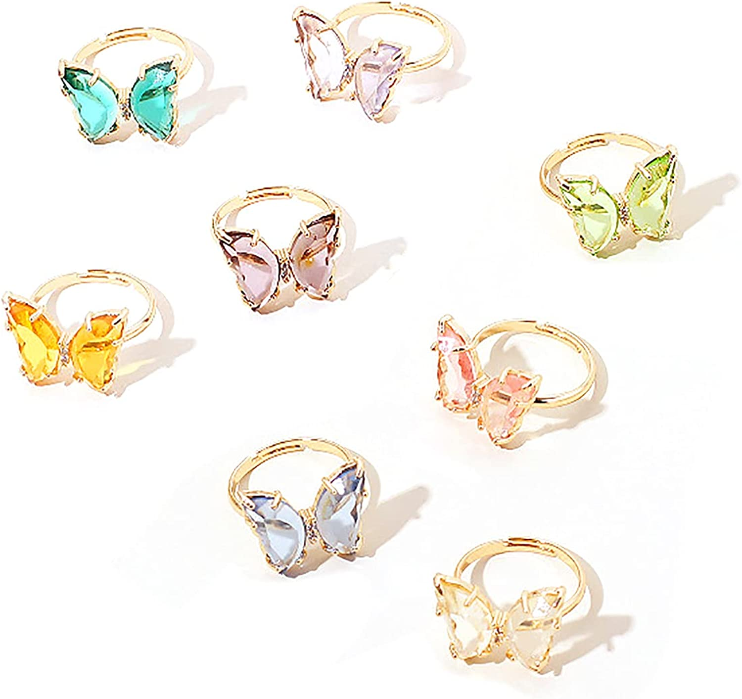 8pcs Dainty Butterfly Rings Set Acrylic Crystal Colorful Cuff Open Adjustable Size for Women Girls Teens Lovely Animal Jewelry