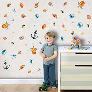 Underwater Ocean World Wall Decals (48 Decals) Sea Life Wall Stickers Boat Anchor Wall Art Shells Turtle Sticker for Baby Kids Nursery Bedroom
