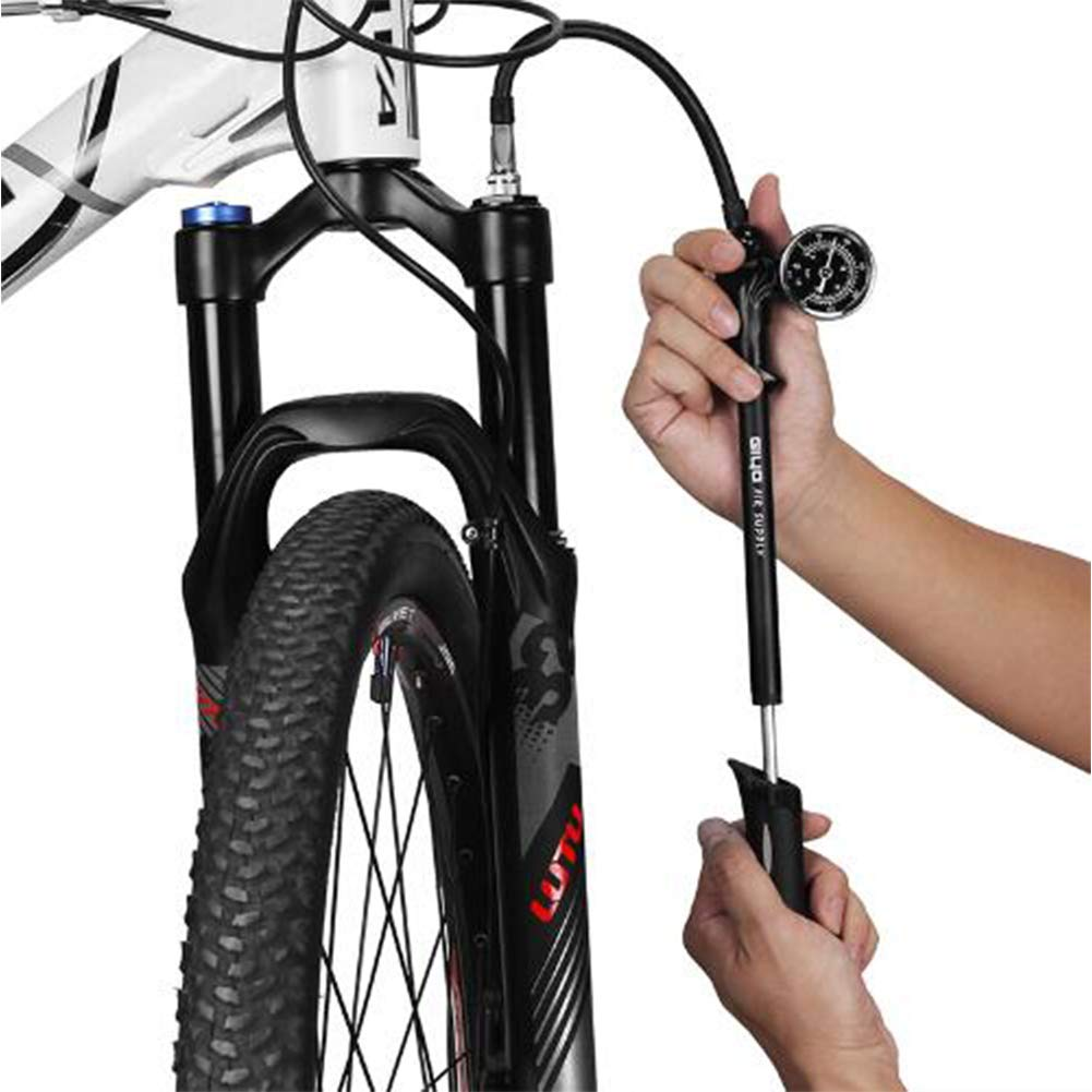 Bomba Bicicletas Bici con Manómetro,Bomba de Choque de aire de Bicicleta de alta Presión de 300psi para Horquilla y Suspensión Trasera Bicicleta Bomba de Bicicleta de Montaña Bomba Portátil: Amazon.es: Deportes y