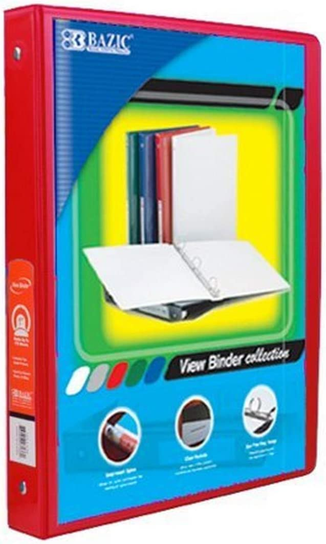 3137-12 Case of 12 BAZIC 1 White 3-Ring View Binder w// 2-Pockets