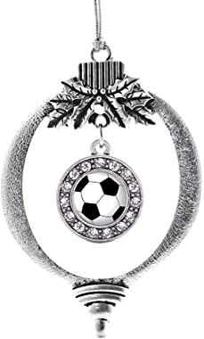 Inspired Silver - Soccer Charm Ornament - Silver Circle Charm Holiday Ornaments with Cubic Zirconia Jewelry