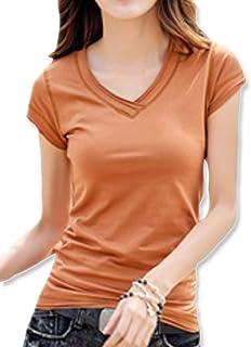 [イーグルハート] Vネックロング Tシャツ 長袖 カットソー トップス 無地 薄手 レディース EH050