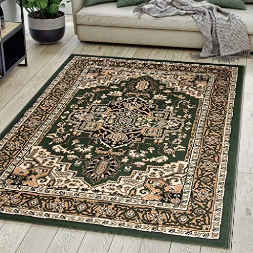 Carpeto Rugs Teppich Orientalisch Grün Klassisch Muster Kurzflor Öko-Tex Wohnzimmer 120 x 170 cm