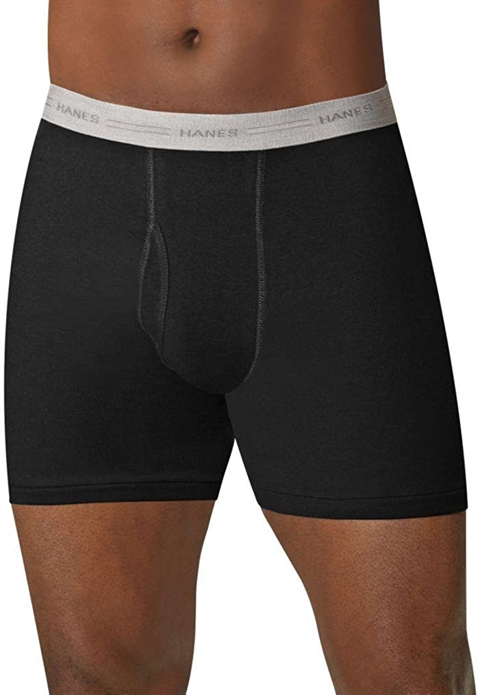 Hanes Men's Tagless Boxer Briefs with Comfort Flex Waistband (Large, Black/Grey - 5 Pack)
