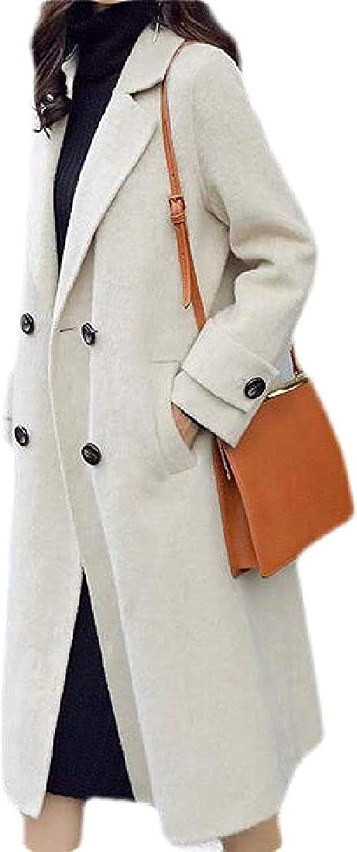 Women Pea Coat Fall & Winter Wool Blend Solid Mid Length Trench Coat Overcoat,1,Medium