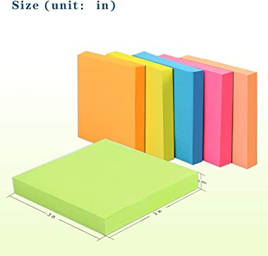 Teskyer 600 Sheets Sticky Notes, 3x3 Inch, 6 Pads Strong Adhesive Self-Stick Notes, 6 Bright Colors, 100 Sheets/Pad