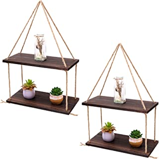 2 Tier Wooden Floating Shelves with Rope, Multiple Tiered Shelving Wall Hanging Storage Home Storage Organisation, Rustic ...