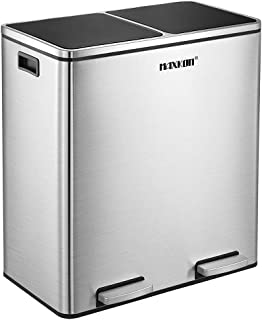 60L Dual Compartment Dustbin Stainless Steel Pedals Bin Trash Can Kitchen