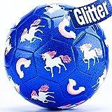 CubicFun Balon Futbol Niños con Bomba y Bolsa de Malla, Balon de Futbol Unicornio Efecto Brillo...