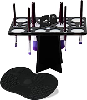 BEAKEY Makeup Brush Drying Rack & Makeup Brush Cleaning Mat, 28 Holes Makeup Brush Holder, Silicone Rubber Apple Shaped Mat - Black