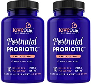 Lovebug Postnatal Probiotic Supplement, Extra Folic Acid Formula to Support Healthy Breastfeeding Moms, Best for Nursing Mother & Baby, 60 Tablets