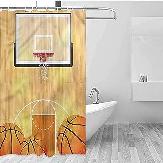HCCJLCKS Hotel Style Shower Curtain Sports Basketball Half Court Balls Shower Curtain Cool W94 xL72,Shower Curtain for Shower stall