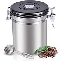 Sotya Stainless Steel Coffee Canister Airtight Container Travel Jar with CO2 Valve and Scoop