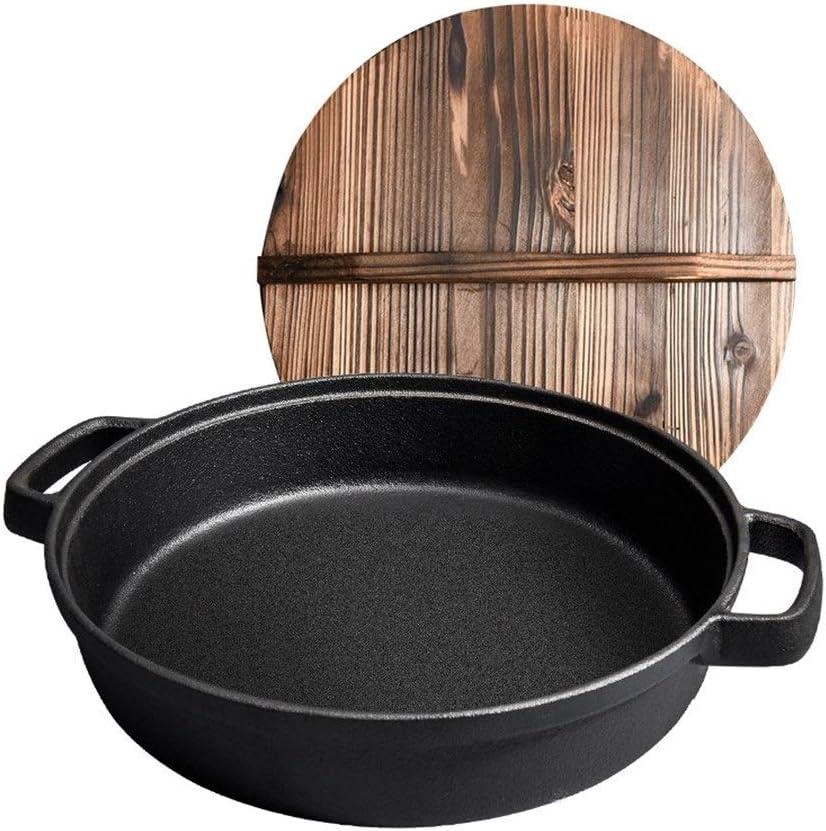 Casserole Fonte Pan Uncoated antiadhésif de cuisson Pan Cuisine Binaural 24 cm Wok Cuisinière à induction Cuisinière à gaz (Color : Dark Grey) Dark Grey