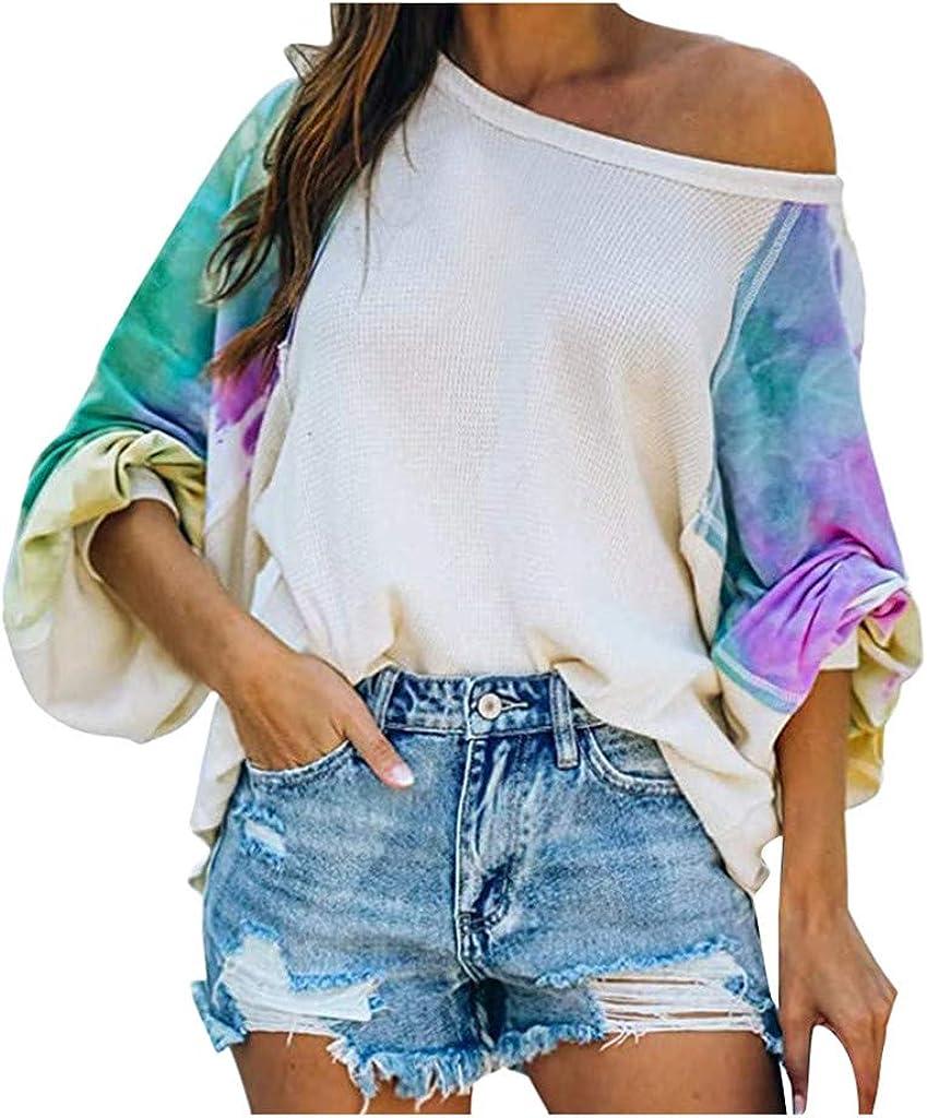 F_topbu Sweatshirt for Women Tie-Dye Long O-Neck Shi Oakland Mall Sleeve Top Detroit Mall