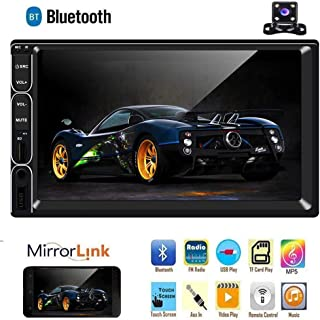 Double Din Car Stereo, 7 Touch Screen Car Radio Multimedia Head Unit, Support Dual Mirror Link Bluetoooth USB/AUX-in+Backup Camera,