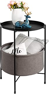 HollyHOME 2-Tier Round Sofa End Table, Accent Metal Basket Table, Anti-Rust Coffee Table, Modern Tray Side Table Nightstand with Fabric Cloth Storage Basket, (D) 16.54