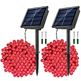 JosMega Upgraded Larger Solar Powered String Lights LED 8 Modes Outdoor String Lights Waterproof Fairy Lights for Garden, Patio, Fence, Balcony, Outdoors (2 Pack 33 ft 100 LED, Red)