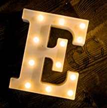Foaky LED Letter Lights Sign 26 Alphabet Light Up Letters Sign for Night Light Wedding Birthday Party Battery Powered Christmas Lamp Home Bar Decoration (E)