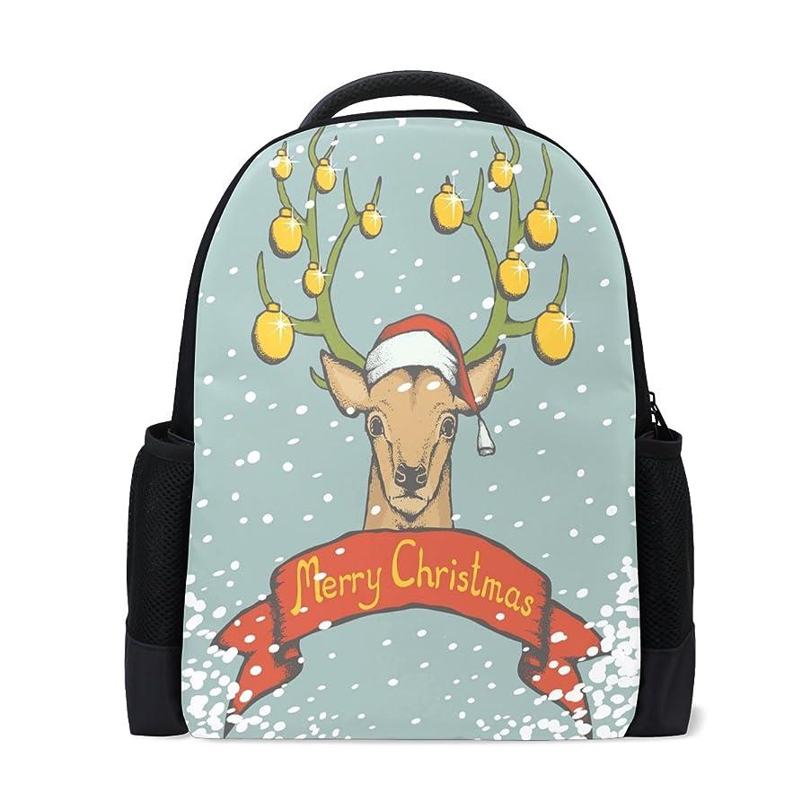ファンド作家行マキク(MAKIKU) リュック 大容量 おしゃれ レディース 軽量 メンズ 通学 クリスマス 鹿柄 ブルー 高校生 中学生 リュックサック プレゼント対応