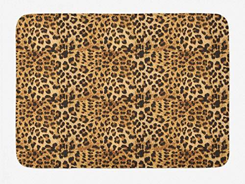 Alfombrilla de baño marrón, Estampado de Leopardo, Piel de Animal, Estampado Digital, con Motivos de Safari Salvaje, patrón de Arte, Felpa para decoración de baño con Respaldo Antideslizante, marrón