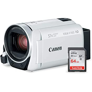 Canon Vixia HF R800 HD Camcorder (White) Deluxe Bundle W/Camcorder Case, 64 GB SD Card, 3 Pc. Filter Kit, LED Light Kit, and Xpix Cleaning Accessories