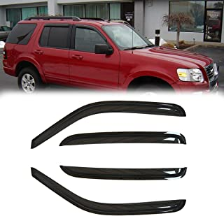 Deebior 4pcs Front Rear Dark Smoke Tinted Sun/Rain Guard Vent Shade Window Visors for 02-10 Ford Explorer Mercury Mountaineer 03-05 Lincoln Aviator 4-Door SUV Only (Expect Sprot Trac or 2-Door Model)