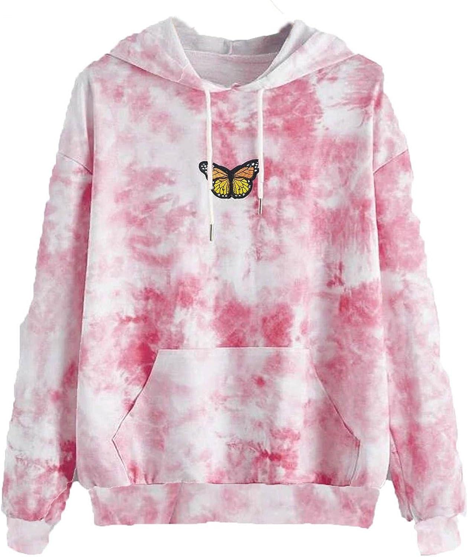 Qunkii Tie Dye Sweatshirt for Teen Girls,Butterfly Hoodies Long Sleeve Casual Pullover Sweatshirts Tops with Pocket
