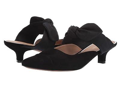 LINEA Paolo Crissy Bow Kitten Heel (Black Suede/Grosgrain) Women