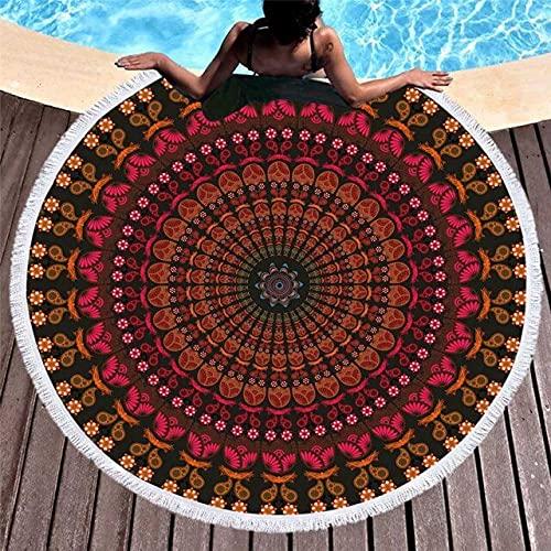 IAMZHL Toalla de Playa Redonda Tapiz de borlas geométricas Coloridas Estera de Yoga de Microfibra Manta Toalla Toallas de baño de Ducha de 150 cm-a13-150x150cm