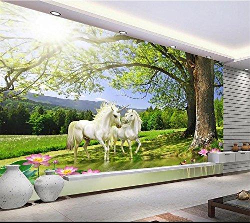 Yosot 3D Tapeten Eigenes Foto Wandbild Wohnzimmer Sonnenschein Baum Lotus Einhorn Malerei Tv Hintergrund Vliestapeten Für Wände 3D-250Cmx175Cm