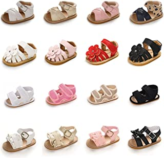Sawimlgy Baby Girls Sandals Leather Summer Shoe Flowers Princess Dress Flats Rubber Sole Infant Toddler First Walkers Outd...