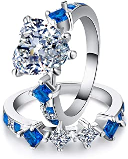 CHARHODEN Women's Ring Heart Shaped Design sapphire Delicate Engagement Ring -7